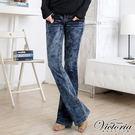 Victoria 袋蓋靴型褲-女-中藍...
