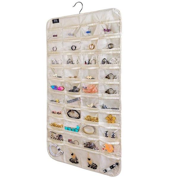 [2美國直購] BB Brotrade 首飾盒 HJO80 Hanging Jewelry Organizer,80 Pocket Organizer for Holding Jewelries(Beige)