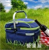 戶外野炊包 野餐籃大容量易攜帶折疊帶蓋野餐包野餐戶外用品 QX16129 『優童屋』