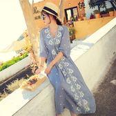 民族風連身裙沙灘裙棉麻連身裙