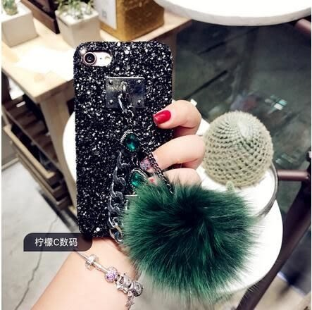 【SZ25】新款奢華亮片寶石iPhone7/8手機殼鑽iphone6/6s plus手鏈毛球保護套潮