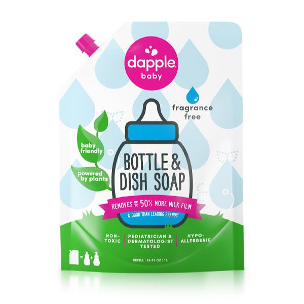 美國 Dapple 天然奶瓶及餐具清潔液補充包 1L-無香(奶瓶清潔劑)