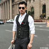 馬甲男英倫韓版潮流修身小休閒薄款西裝西服春秋格子男士工裝外套
