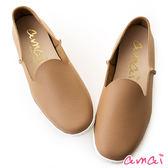 amai MIT台灣製造。輕巧牛皮休閒樂福便鞋 棕