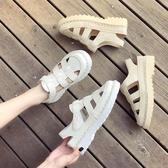 包頭涼鞋女松糕厚底鏤空羅馬鞋學生仙女風夏季Mandyc