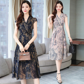 洋裝 輕熟風 淑女裙 夏季連身裙韓版修身顯瘦中長款過膝氣質復古印花雪紡裙子T105依佳衣