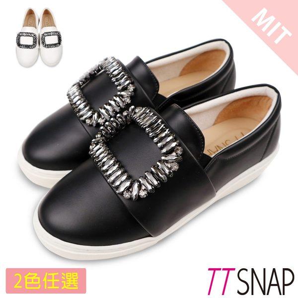 MIT方形水鑽牛紋真皮休閒鞋