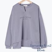 「Autumn」鑰匙領口標語打印長袖上衣 - Sm2 BLUE