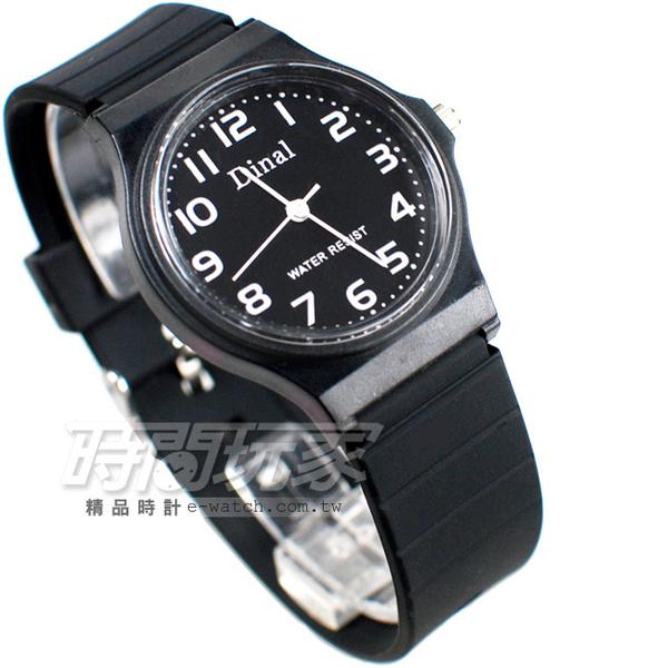 Dinal 時尚數字 簡單腕錶 黑色 D1307全黑