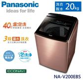 【佳麗寶】-留言享加碼折扣(Panasonic國際牌)Nanoe X雙科技溫水洗淨變頻洗衣機-20kg【NA-V200EBS-B】