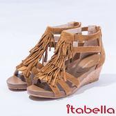★2017春夏新品★itabella流蘇真皮軟木楔型厚底羅馬涼鞋(7302-33棕)
