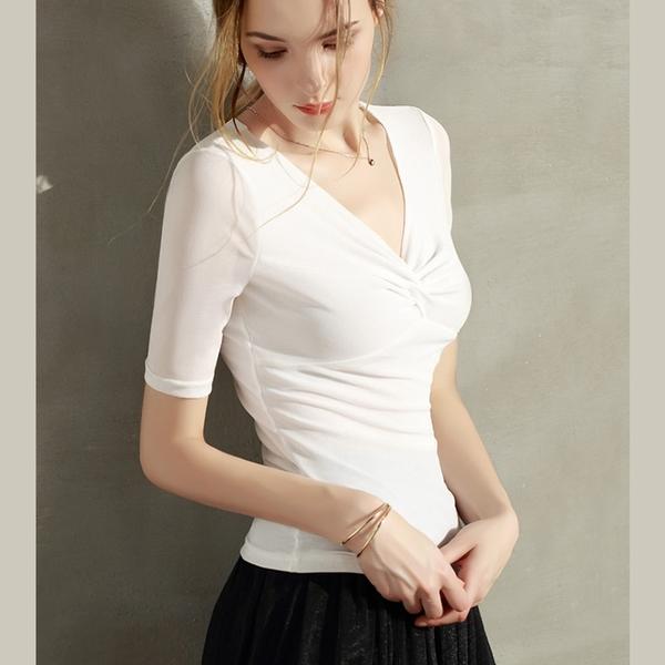 交叉V領內搭衫素色短袖T恤網紗上衣(四色S-3XL可選)/設計家 AL27215