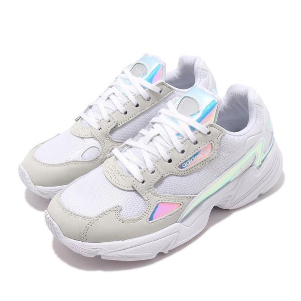 adidas 休閒鞋 Falcon W 白 灰 女鞋 七彩炫光 老爹鞋 運動鞋 【ACS】 FX3432