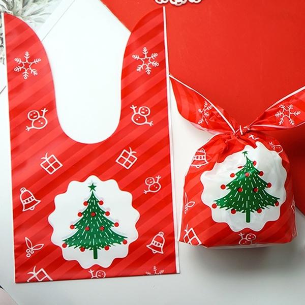 【BlueCat】聖誕節 紅綠斜紋 兔耳朵糖果袋(1入) 禮物袋 包裝袋 聖誕 耶誕