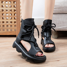 手工真皮女鞋35~40 2020新款休閒百搭頭層牛皮魚嘴涼靴 民族風後拉鍊休閒時裝靴~3色