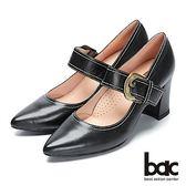 【bac】經典回歸-尖頭粗跟復古腳背帶高跟鞋(黑)