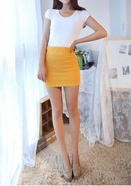 TwinS韓版糖果色素面包臀短裙 性感窄版小迷你裙 可當平口小可愛上衣【寬版鬆緊帶3cm】