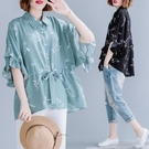 民族風襯衫 大碼女裝200斤胖mm心機上衣夏季雪紡襯衫韓版寬鬆時髦減齡蝙蝠衫