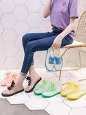 雨鞋 果凍透明可愛成人短筒雨鞋女防水鞋防滑膠鞋套鞋水靴韓國時尚雨靴 5色