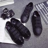 男鞋子黑色一腳蹬懶人帆布鞋男士休閒鞋韓版板鞋學生布鞋潮鞋