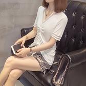 大尺碼上衣鏤空T恤L-3XL網紅抽繩短袖T恤冰絲寬松減齡半袖上衣4F114.6765 依品國際