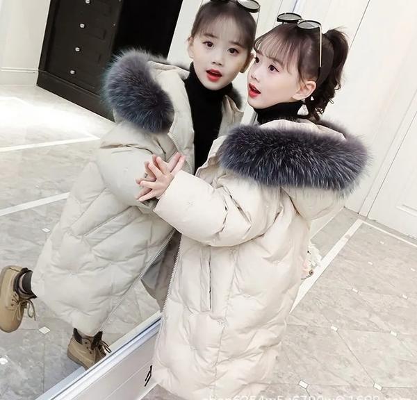 女兒童裝中大女童潮流棉服外套 女孩連帽繡花夾棉女童外套羽絨服 韓加厚保暖秋冬洋氣加絨夾克