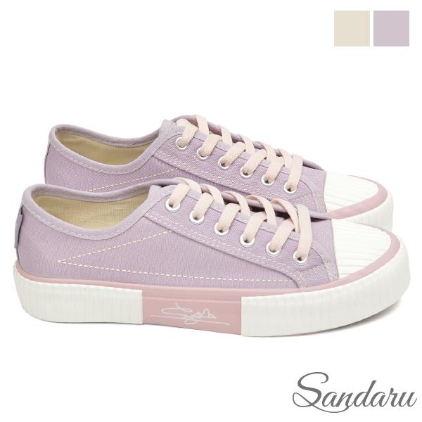帆布鞋 復古配色綁帶餅乾鞋-紫
