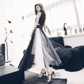 新年好禮 2018新款超火的半身裙港味復古chic紗裙女韓版蓬蓬裙長裙a字裙