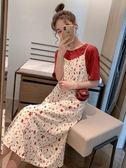 碎花裙 夏裝新款套裝短袖印花T恤女碎花吊帶連身裙法國小眾兩件套裝 伊蘿鞋包