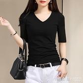 中袖t恤女士V領體恤韓版上衣修身黑色五分袖打底衫2020秋季新款潮 怦然新品