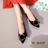 IN'SHOP 平底鞋-時尚金屬C尖頭娃娃鞋-共3色【KF01075】