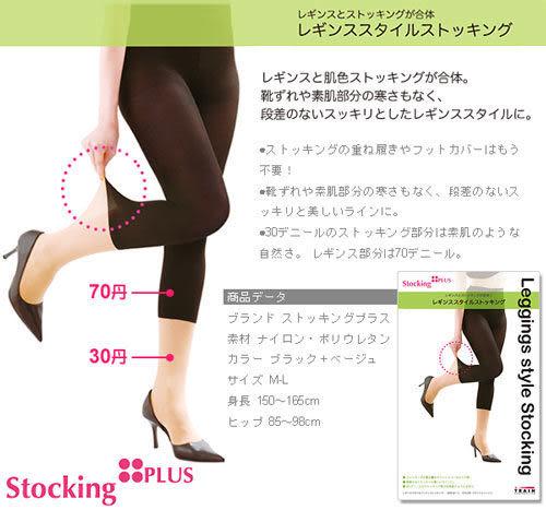 StockingPLUS 雙色平腹翹臀假七分褲襪   【小紅帽美妝】