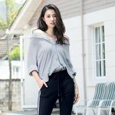 單一優惠價[H2O]可多種穿法八分袖仿麻平織襯衫-白/淺藍色 #8685025