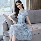 2018夏季35歲到45的碎花雪紡連身裙溫柔仙女裙收腰冷淡風 裙子 艾尚旗艦店