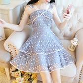 VK精品服飾 韓版名媛吊帶露肩氣質蕾絲高腰顯瘦蛋糕無袖洋裝