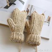 日系季掛脖毛線手套女冬可愛韓版卡通學生加厚內加絨保暖手套 莫妮卡小屋