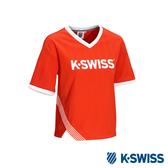K-SWISS Tricot T-ShirtV領棒球T恤-女-紅