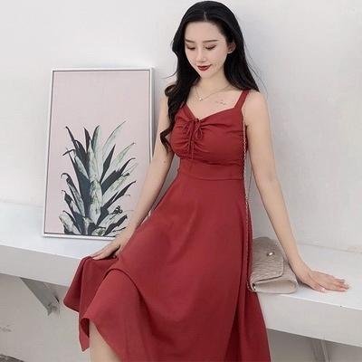(下殺)韓版女裝收腰修身性感吊帶裙子露肩心機顯瘦A字連身裙【08SG06190】