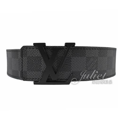 Louis Vuitton LV M9808S 經典LOGO飾扣黑棋盤格紋皮帶 全新 預購