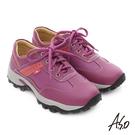 A.S.O 前彈性後避震II 牛皮輕量抗震綁帶奈米休閒鞋  紫紅