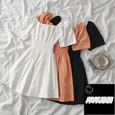 休閒百搭方領連身裙減齡短款純色裙子女夏季【邦邦男裝】