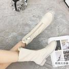 復古馬丁靴女前拉鏈短筒內增高圓頭百搭短靴【時尚大衣櫥】