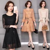 海外發貨不退換韓版洋裝1601大尺碼蕾絲連衣裙女新款韓版女裝中長款喇叭袖蕾絲打底衫(T456-A)