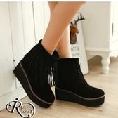 韓系簡約流蘇造型保暖內絨毛厚底楔鞋短靴/35-39碼/3色 (RX0095-A7356) iRurus 路絲時尚