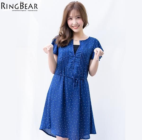 洋裝--性感小心機輕甜滿點V領點點荷葉袖附綁帶雪紡洋裝(黑.藍XL-5L)-D409眼圈熊中大尺碼★