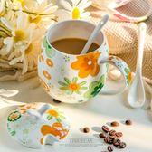 卡通創意骨瓷水杯杯子陶瓷杯帶蓋帶勺牛奶杯可愛辦公室茶杯馬克杯 年貨慶典 限時鉅惠