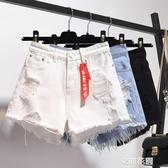 高腰牛仔短褲女春夏季新款寬鬆破洞大碼闊腿毛邊a字熱褲子潮『艾麗花園』