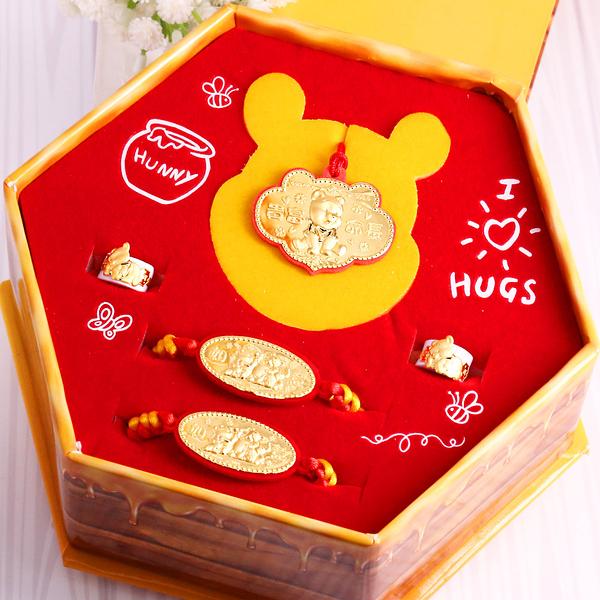 迪士尼系列金飾-維尼彌月黃金禮盒-小熊維尼款彌月五件組(0.30錢)