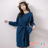 betty's貝蒂思 優雅印花側腰綁帶洋裝(深藍)