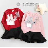 兔子氣球星星拼接立體澎澎裙洋裝 內刷毛 不倒絨 保暖 太空棉 連身洋裝 假2件 女童 紅色 長袖
